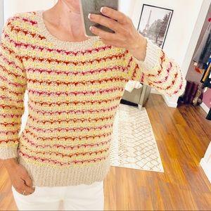 Loft Yellow with Pink Striped Knit Sweater Size XS